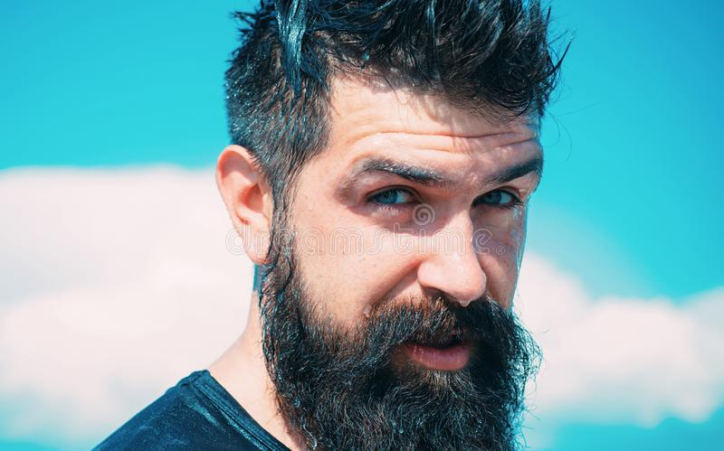 Trendy hairstyle for bearded man. Bearded man on sunny sky background. Brutal caucasian hipster with wet beard and. Mustache hair on bearded face royalty free stock photo