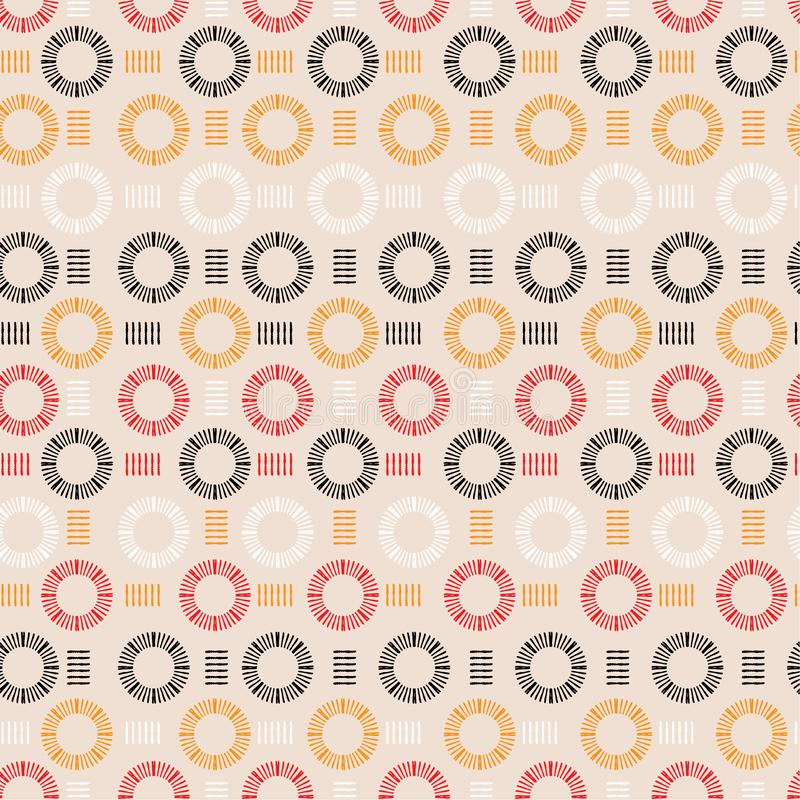 Trendy hand drawn line circle round shape seamless pattern vector design for fashion ,fabric, wallpaper and all prints royalty free illustration