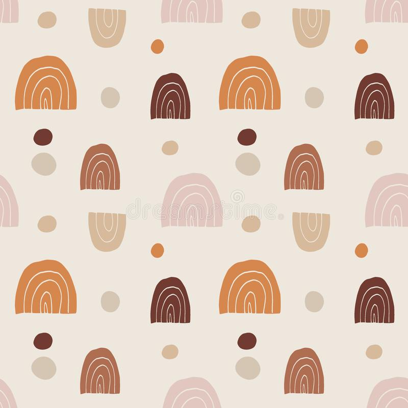 Trendy hand drawn seamless pattern with doodle rainbows and dot circles. Retro abstract geometric design. Repeating tile stock illustration