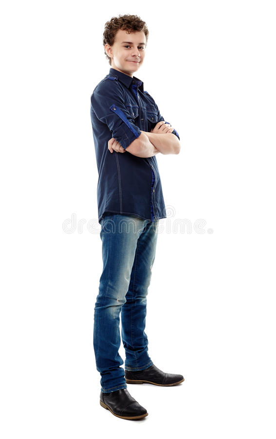 Trendy handsome teenager with arms folded royalty free stock image