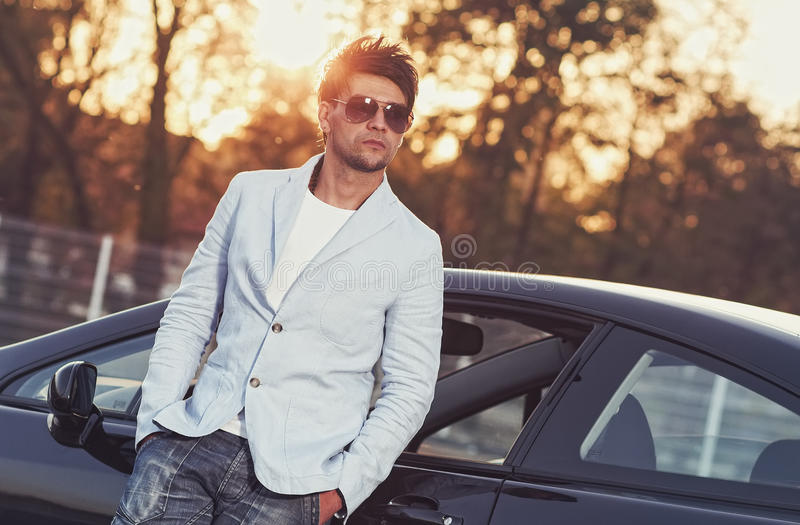 Trendy handsome young man royalty free stock photos