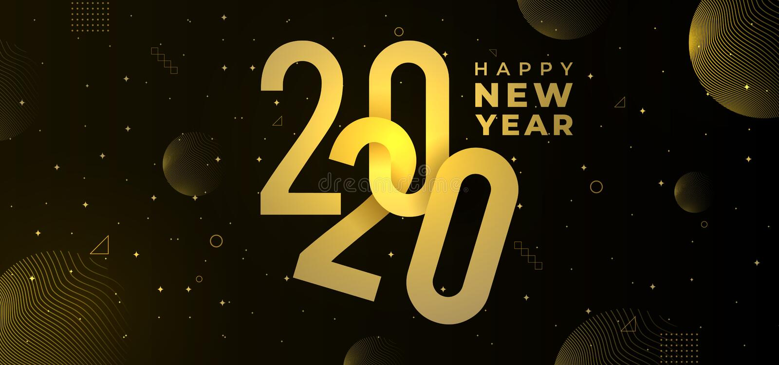 Trendy happy new year 2020 greeting modern design. Vector eps 10. Modern golden texture with lights elegant and luxury style vector illustration