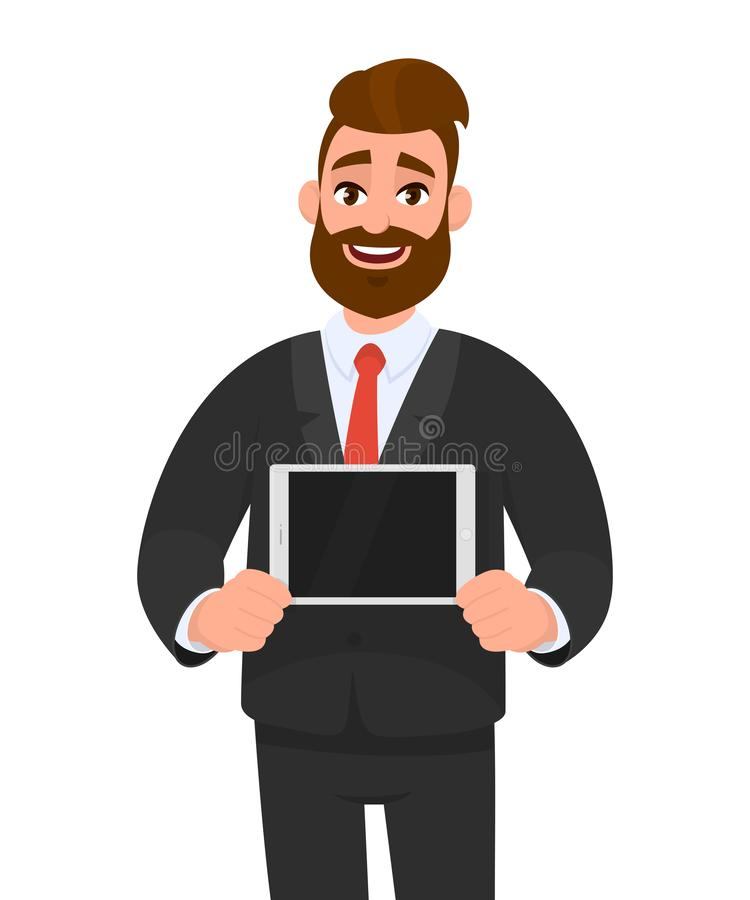 Trendy happy young bearded business man showing/holding blank screen of digital tablet computer in hands. Modern technology. royalty free illustration