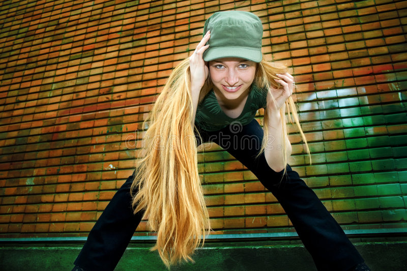Trendy Happy Young Woman With Long Blond Hair Stock Photo