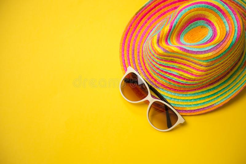 Trendy hat, great design for any purposes. Yellow orange backgr. Ound. Summer Beach background royalty free stock photo