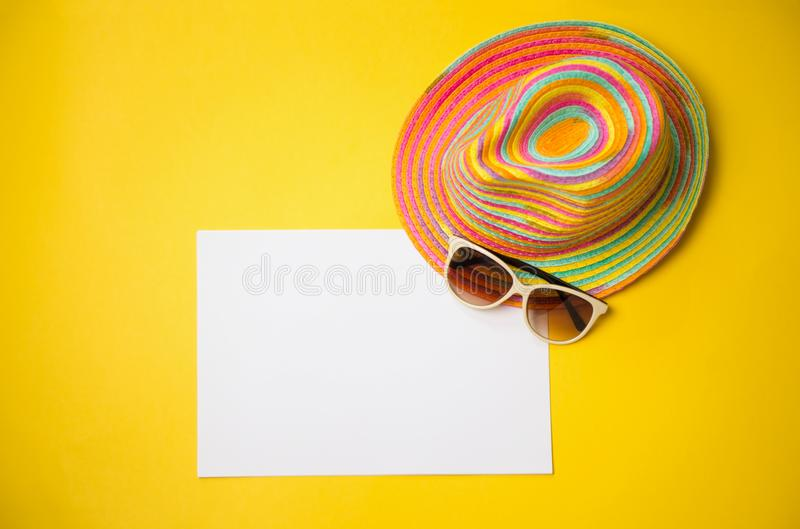Trendy hat, great design for any purposes. Yellow orange backgr. Ound. Summer Beach background stock images