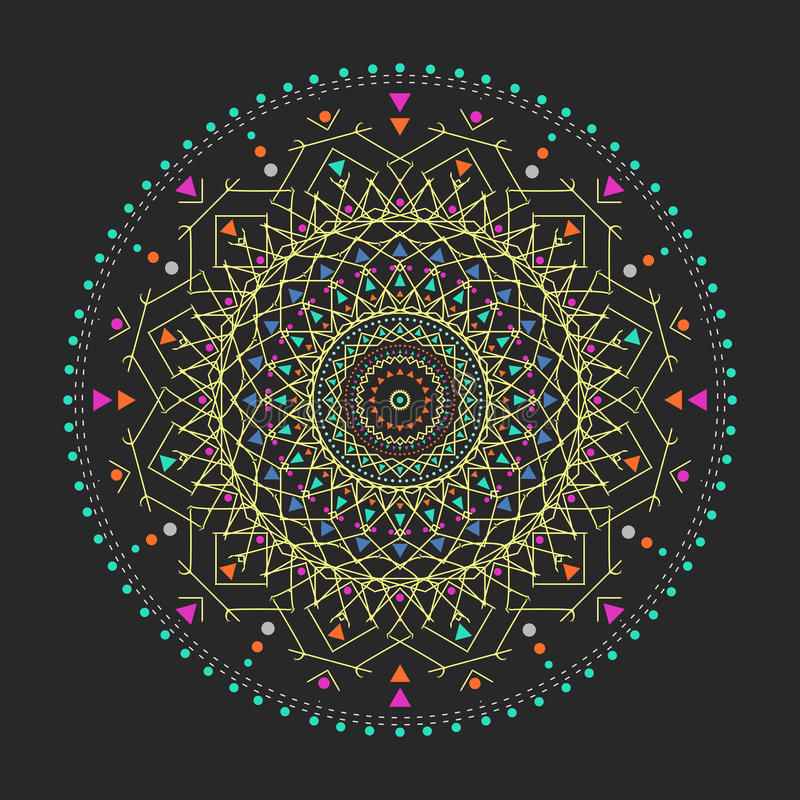 Trendy hipster colored circle, bright philosophical symbol, circular elements that are a religious, royalty free illustration