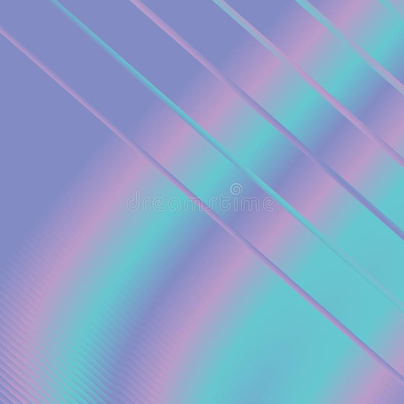 Trendy holographic lilac blue turquoise neon glow rainbow abstract striped diagonally background illustration. stock illustration