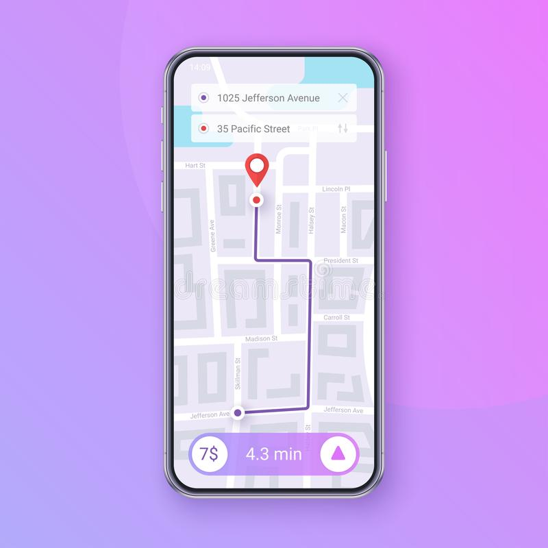 Trendy Infographic of city Map Navigation. Mobile App Interface concept design. EPS 10. Trendy Infographic of city Map Navigation. Mobile App Interface concept royalty free illustration