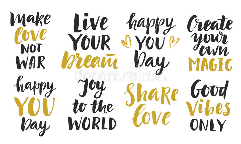 Inspirational Phrases Delectable Trendy Inspirational Phrases Collection Stock Vector