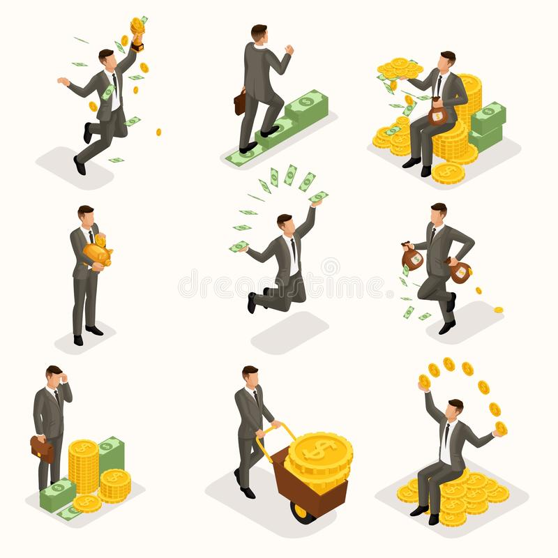 Trendy isometric people, 3d businessman, concept with young businessman, money, success, gold, wealth, joy, work, movement,. Startup isolated vector illustration