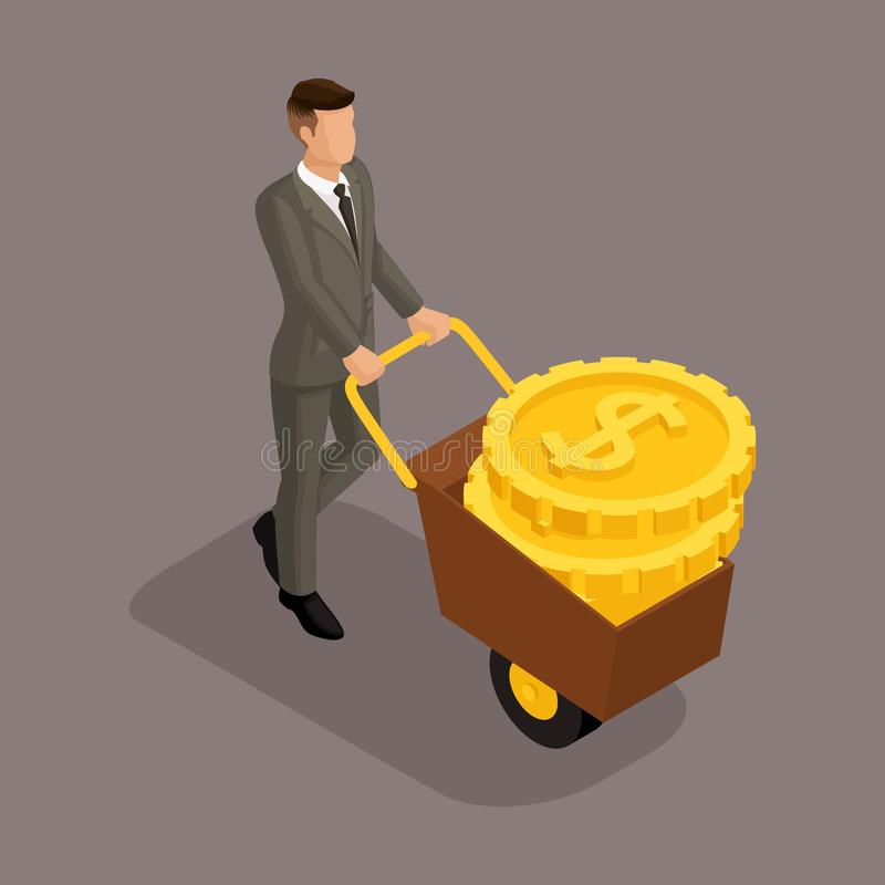 Trendy isometric people, 3d businessman, concept with young businessman, carry money on estrus, gold, rich businessman isolated on. A dark background vector illustration