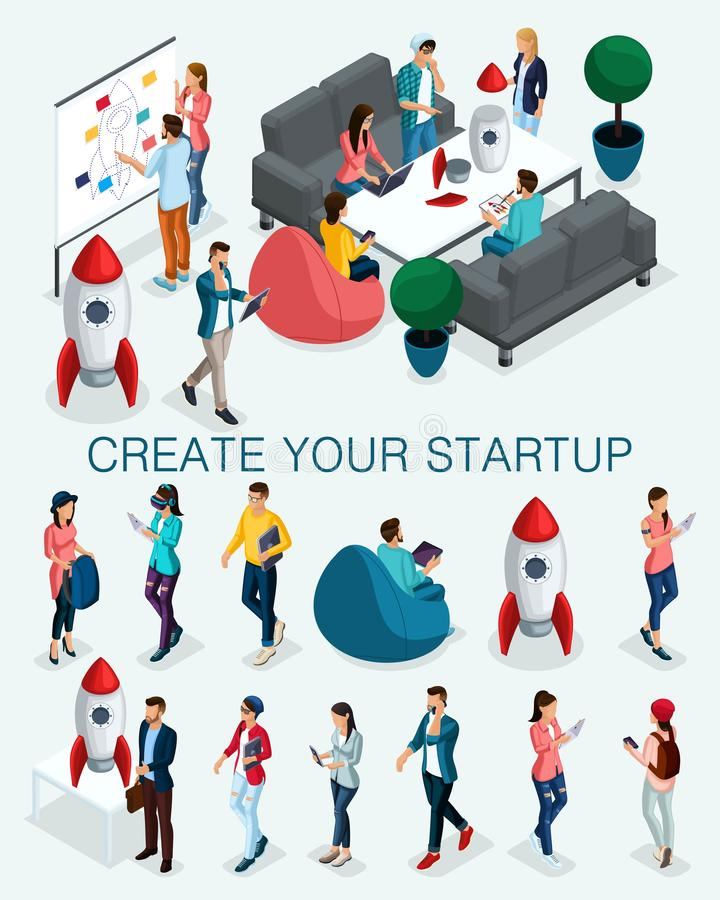 Trendy isometric people, 3d businessman, concept with young people, young team of specialists, creating startup, brainstorming royalty free illustration