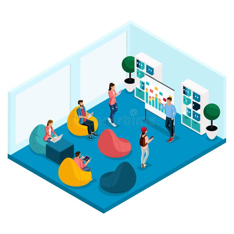 Isometric Coworking Center Freelancer Young People vector illustration