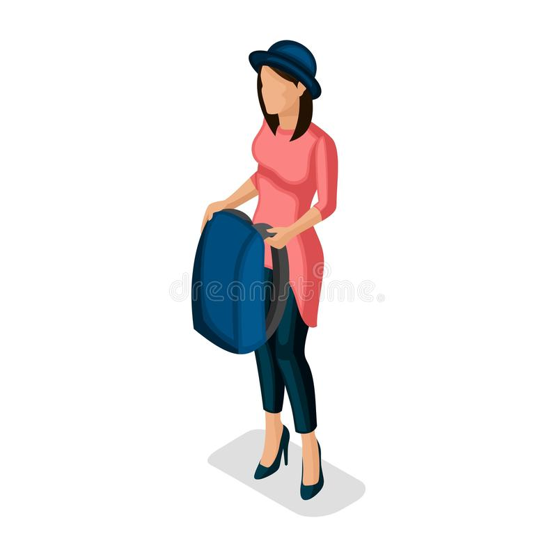 Trendy Isometric people and gadgets, a teenager, a young girl, a stylish, student, uses hi tech technology, backpack isolated royalty free illustration