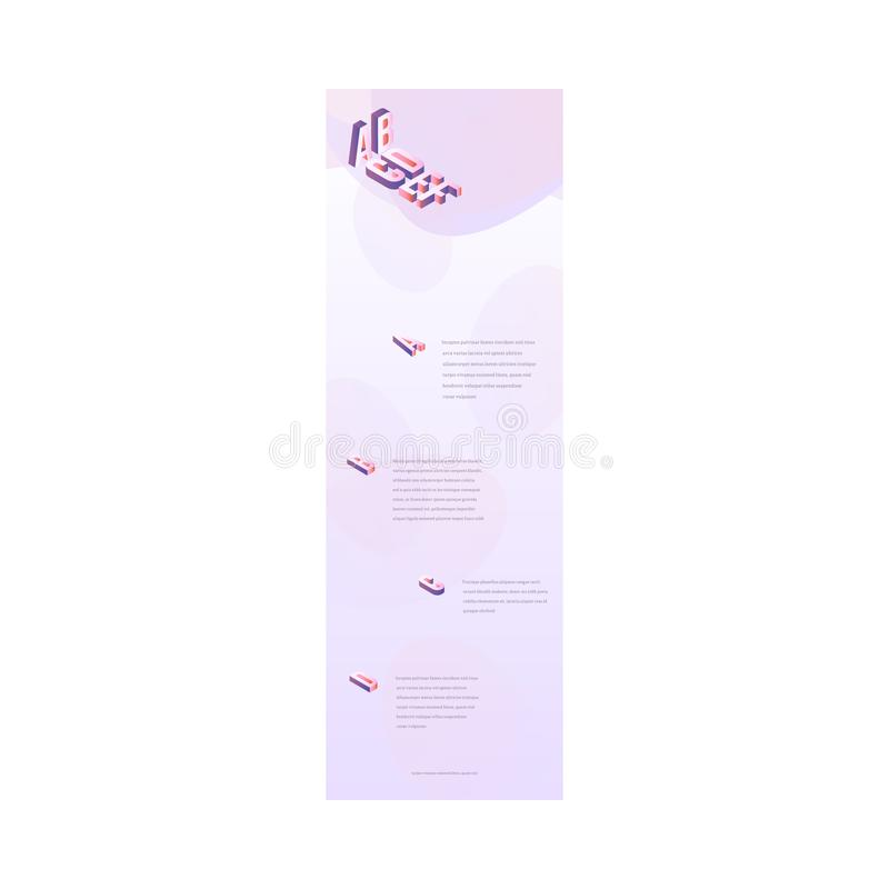 Vector landing page trendy vibrant gradient. Trendy landing page template, web site background with vibrant gradient light purple colors and abstract shapes stock illustration
