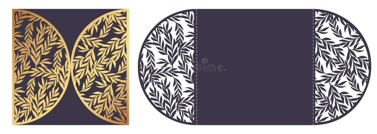 Trendy Laser cut ornamental vector template with openwork border royalty free illustration