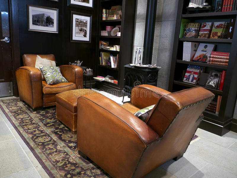 Download Trendy Library Room With Two Leather Couches Editorial Photo - Image: 21195096