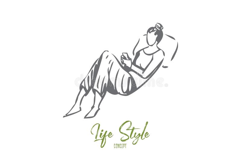 Trendy lifestyle concept sketch. Isolated vector illustration. Trendy lifestyle concept sketch. Modern leisure, young woman in casual clothes holding smartphone vector illustration
