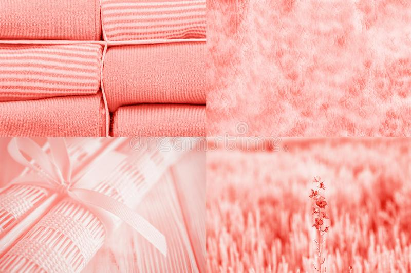 Trendy living coral color 2019. Creative collage. Textile, flowers and textures royalty free stock photo