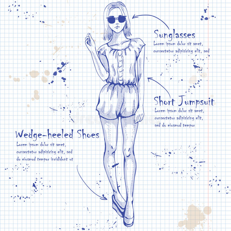 Trendy look on notebook page royalty free illustration