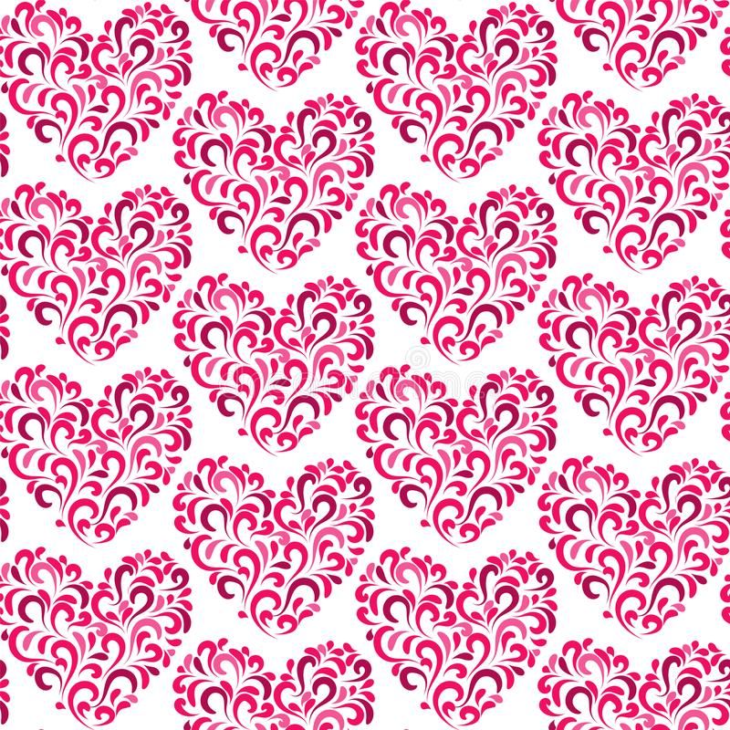 TRENDY LOVE FLORAL SEAMLESS VECTOR PATTERN. DIVERSE SYMBOL HEART ART TEXTURE. VALENTINES DAY BACKGROUND vector illustration