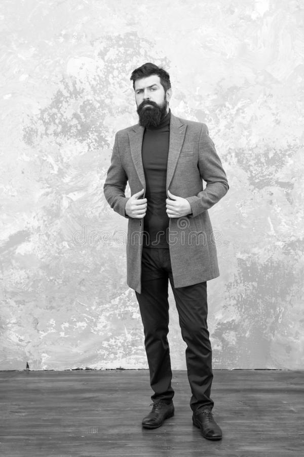 Trendy man with beard. Modern life. Male fashion model. Mature businessman. Casual style. Brutal bearded hipster in. Denim wear. autumn style of trendy man royalty free stock photo