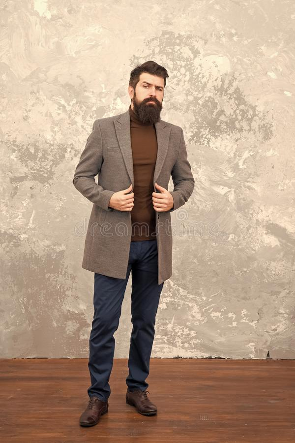 Trendy man with beard. Modern life. Male fashion model. Mature businessman. Casual style. Brutal bearded hipster in stock photo