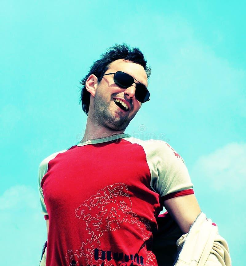 Trendy man. Happy smile royalty free stock photography