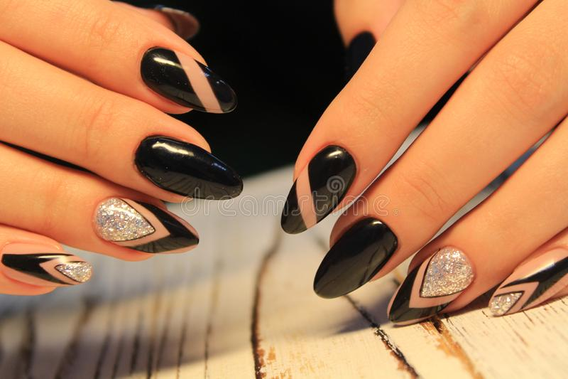 Trendy manicure design royalty free stock photos