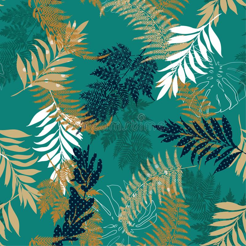 Trendy many kind of leaves fill in with polka dots pattern and s. Ilhouette line seamless vector suits for fashion,fabric and all prints on dark green background stock illustration