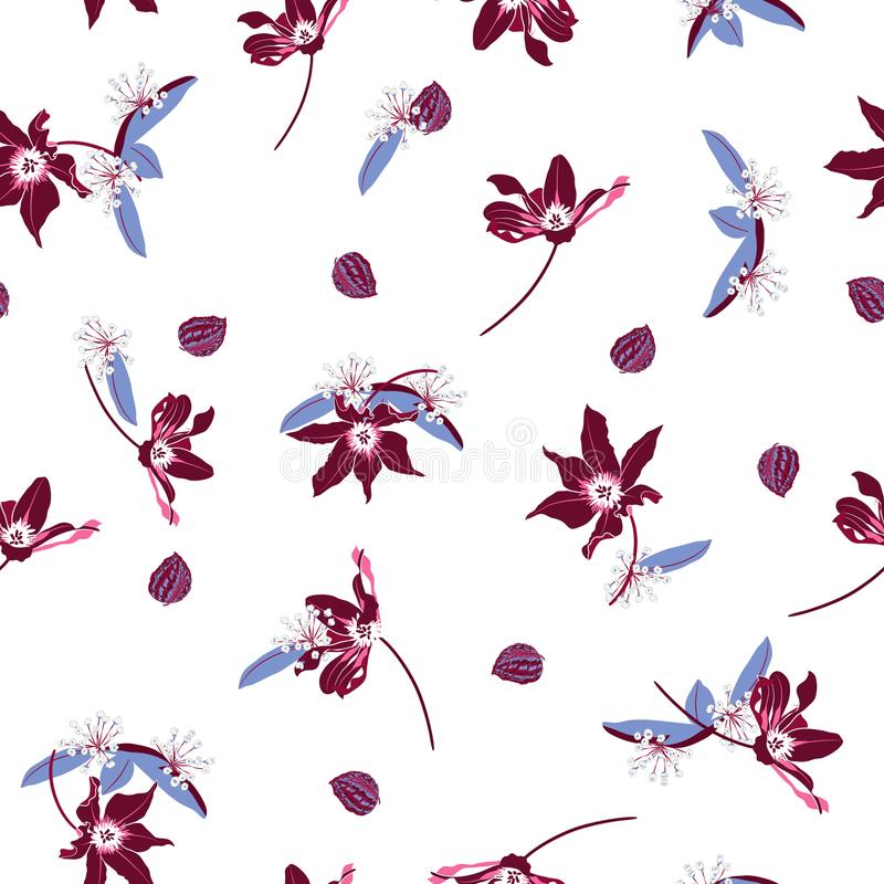 Trendy maroon color Blossom Floral pattern in the blooming bota vector illustration