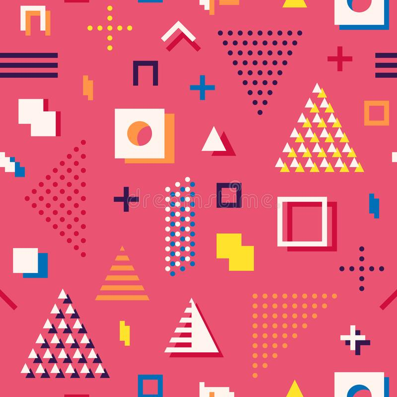 Memphis style abstract geometric seamless pattern. Composition 8 vector illustration