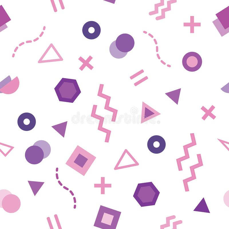 Trendy Memphis style seamless pattern with cute geometric shapes colored in pastel purple. Seamless repeat pattern with Memphis on white background. Trendy royalty free illustration
