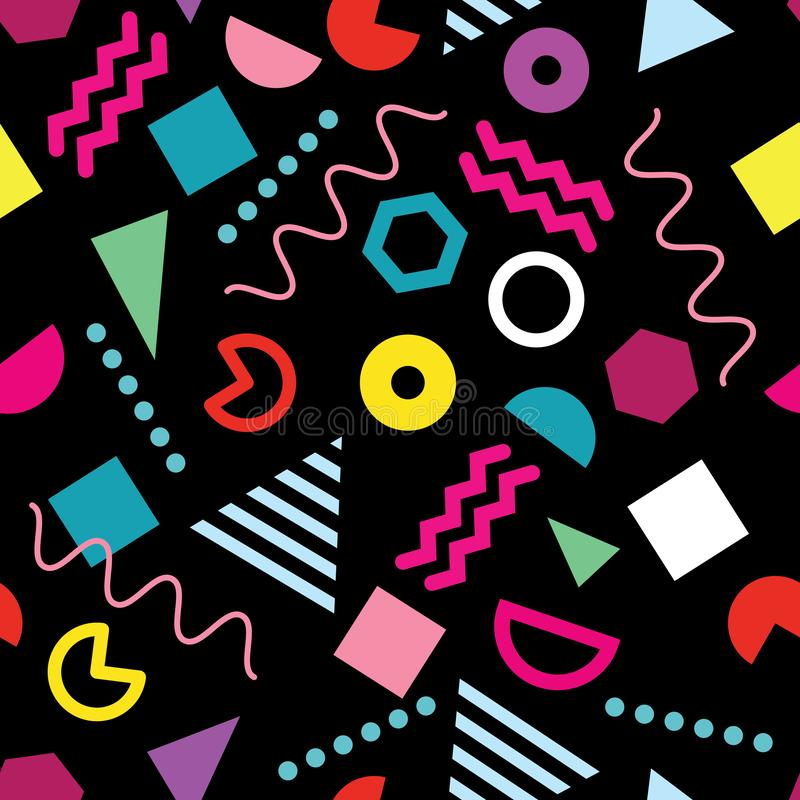 Trendy Memphis style seamless pattern with trendy geometric shapes on black background royalty free illustration