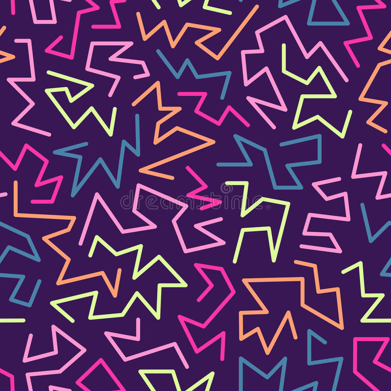 Trendy memphis style seamless pattern inspired by 80s, 90s retro fashion design. Colorful festive hipster background vector illustration