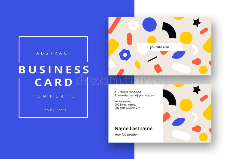 Trendy minimal abstract business card template with bright layout. Modern corporate stationery id layout with geometric pattern. stock illustration