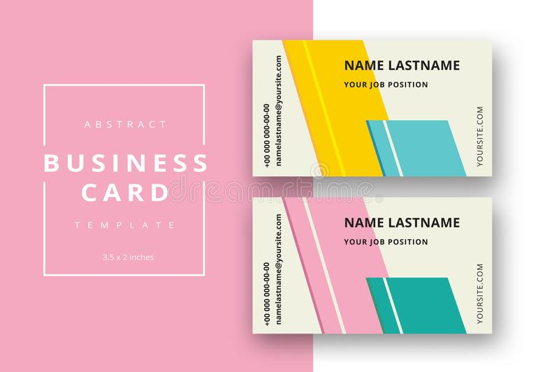 Trendy minimal abstract business card template with colored stripes. Modern corporate stationery id layout with geometric pattern vector illustration
