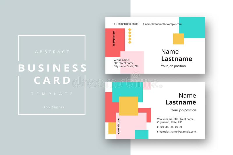 Trendy minimal abstract business card template. Modern corporate stationery id layout with geometric pattern. Vector fashion royalty free illustration