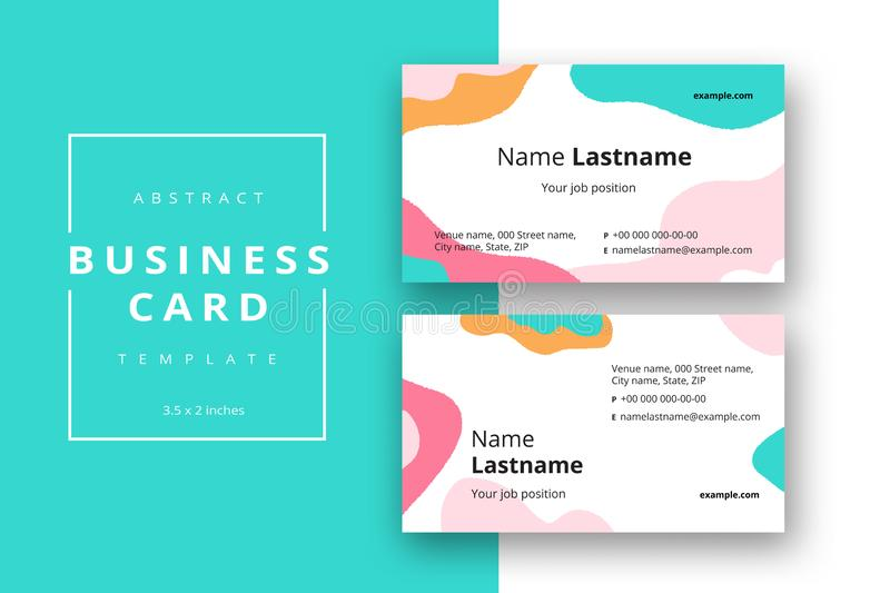 Trendy minimal abstract business card template. Modern corporate stationery id layout with geometric pattern. Vector fashion. Background design with information stock illustration