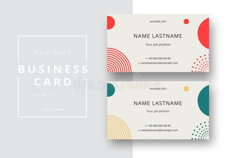 Trendy minimal abstract business card template. Modern corporate stationery id layout with geometric pattern. Vector fashion stock photos