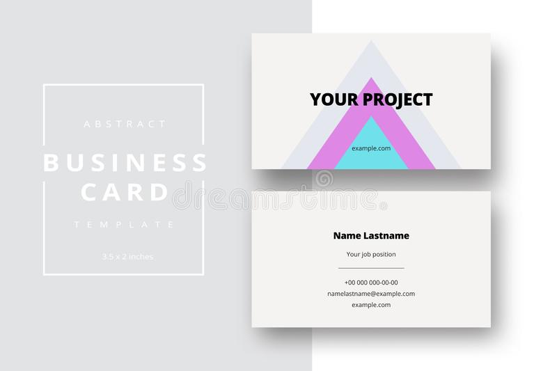 Trendy minimal abstract business card template. Modern corporate stationery id layout with geometric pattern. Vector fashion stock image