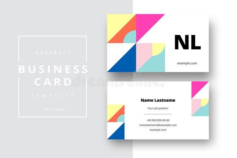 Trendy minimal abstract business card template. Modern corporate stationery id layout with geometric pattern. Vector fashion royalty free stock photography