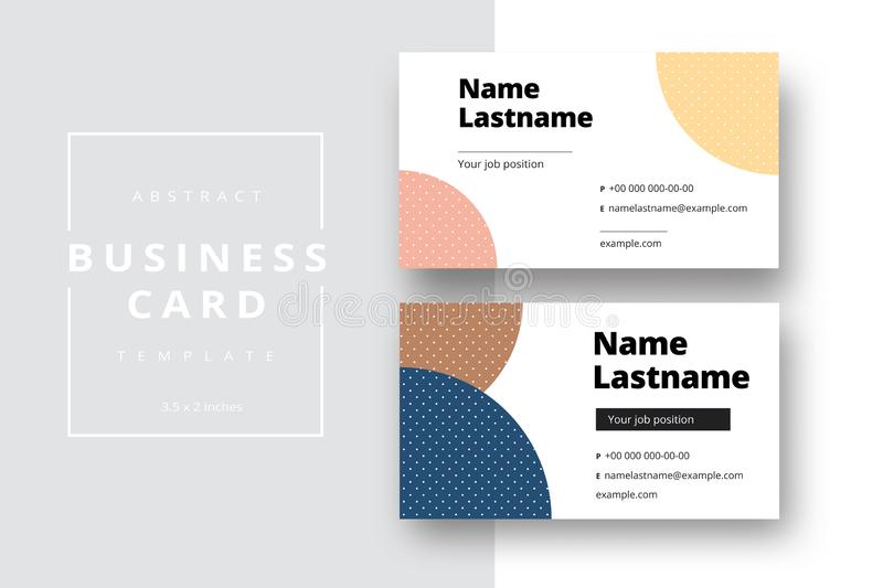 Trendy minimal abstract business card template. Modern corporate stationery id layout with geometric pattern. Vector fashion stock photo