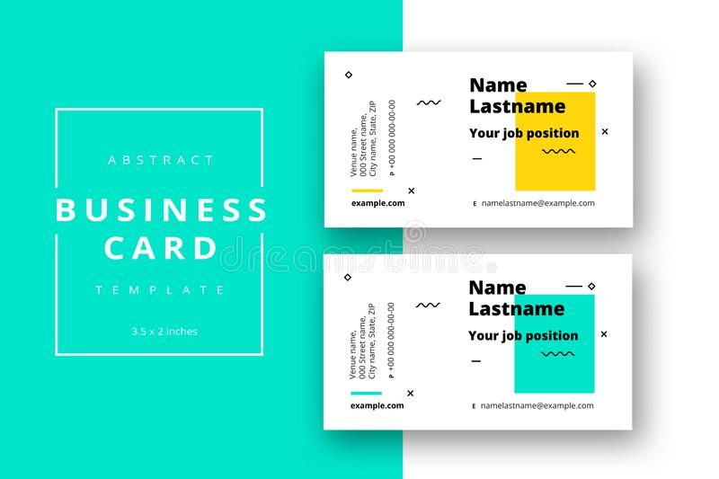 Trendy minimal abstract business card template. Modern corporate. Stationery id layout with geometric pattern. Vector fashion background design with information royalty free illustration