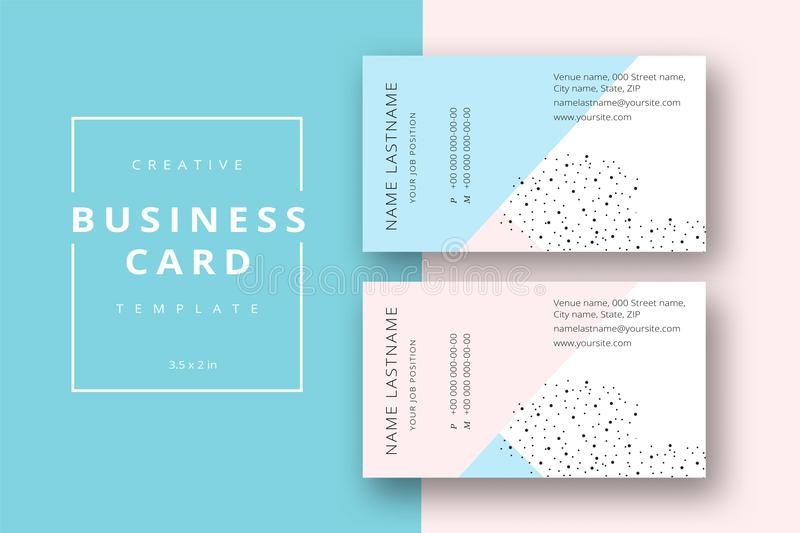 Trendy minimal abstract business card template in pink and blue. stock illustration