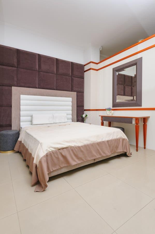 Trendy minimalist bedroom royalty free stock image