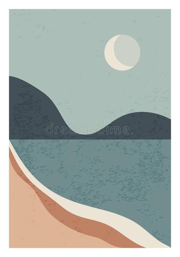 Free Trendy Minimalist Landscape Abstract Contemporary Collage Design Stock Image - 205968171