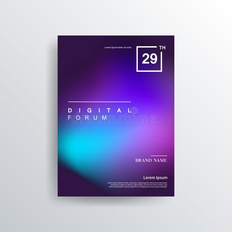 Colorful color brochure design, abstract cover design, iridescent background. Trendy Minimalistic Fluid Blurred Gradient Black A4 Poster Design. Modern stock illustration