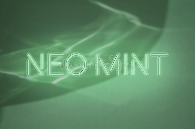 mint colored neon sign lettering on abstract background with light and shadows caustic effect vector illustration